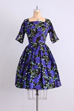BIG MAMA OPTION vintage 1950s party dress • floral print dress • adrian tabin • party 50s dress