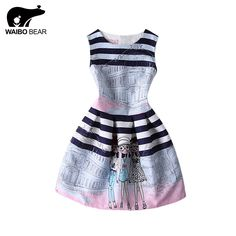 Hot Selling Women A-Line Pleated Skater Dress O-Neck Printed Sleeveless Casual Club Dress Vestidos Mujer Like it? www.lady-fashion.... #shop #beauty #Woman's fashion #Products
