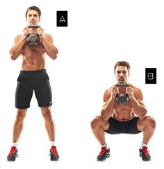 Goblet squat: 3-4 sets of 8-12 reps Now the work starts. With your feet just beyond shoulder-width (i), squat down, holding a kettlebell against your chest (ii). Return.
