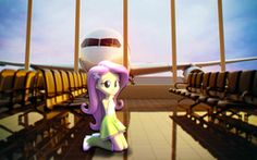 Size: 1920x1200 | Tagged: 3d, airport, artist:fluttershy-ek, boots, butterfly, chair, clothes, cute, equestria girls, fluttershy, high heel boots, looking at you, plane, safe, skirt, socks, solo