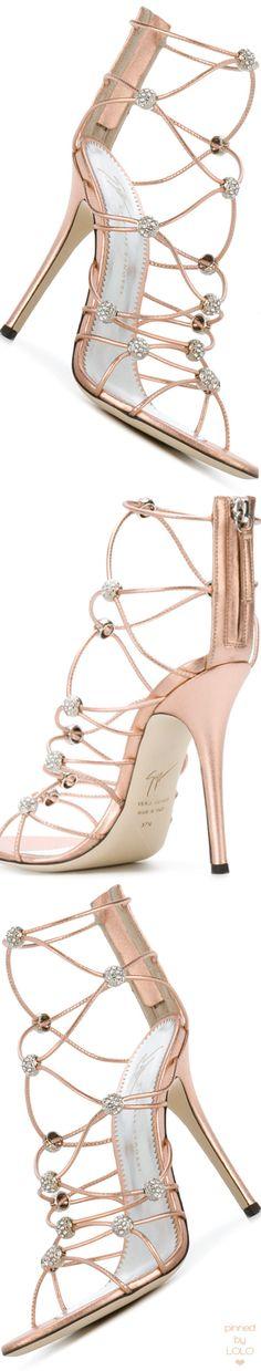 GIUSEPPE ZANOTTI DESIGN strappy crystal beaded heeled sandals #giuseppezanotti