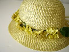 Vintage 1950's Natural Straw Easter Bonnet with Yellow by bytheway, $25.00