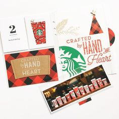 Day 2| Each year, I look forward to the red cup release and always include it in my December Daily album. I wrote a story about this year's multiple cup designs and included it on the back of the 3x8 photo. To add texture to my album, I like to include a few pages without plastic protectors, like the bag page on the right. #decemberdaily #aliedwards #craftthestory #paisleepress  #studiocalico