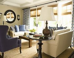 Tan and blue living room