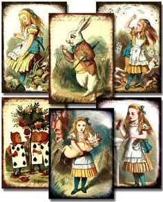 SOLD New -- Framed 1890s Alice in Wonderland in 2.5x3.5 inches -- piddix digital collage sheet no. 778. $3.50, via Etsy.