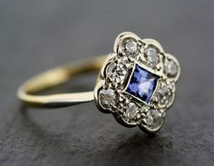 Filigree Blue Sapphire Promise Ring in Sterling Silver – Unique Victorian-style…