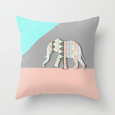 Elephant  Throw Pillow by Sunkissed Laughter - $20.00