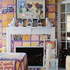 Dining room in the Long Island home of Gloria Vanderbilt and Wyatt Cooper