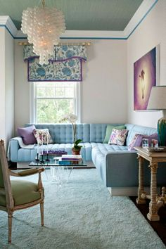 The Chic Technique:  Small living room space with sectional sofa.