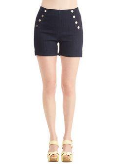 Sailorette the Seas Shorts in Dark Wash   Mod Retro Vintage Shorts   ModCloth.com