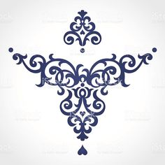 Vector baroque ornament in Victorian style. Ornate element for - Trading Stocks - Ideas of Trading Stocks - Vector baroque ornament in Victorian style. Stencil Patterns, Stencil Designs, Embroidery Patterns, Hand Embroidery, Arabesque, Damask Decor, Damask Stencil, Stencils, Bijoux Art Deco