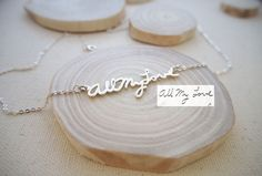 Memorial Signature Necklace - Personalized Handwriting Necklace - Keepsake Jewelry in Sterling Silver - Bridesmaid Gift