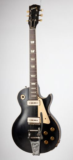 """Gibson Les Paul in Black. """" This Les Paul is one of the first guitars he designed. The other was in gold, but he had to convince Gibson that the color would work without turning green. Guitar Pics, Guitar Art, Music Guitar, Cool Guitar, Playing Guitar, Acoustic Guitar, Ukulele, Gibson Les Paul, Les Paul Custom"""