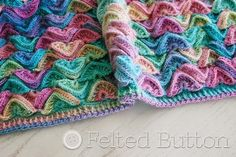 Sea Song Blanket Crochet Pattern by Susan Carlson of Felted Button Crochet Afghans, Baby Afghans, Crochet Stitches, Crochet Hooks, Free Crochet, Crochet Baby, Knit Crochet, Blanket Crochet, Crochet Shawl