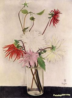 Flowers, Dahlias Artwork by Tsuguharu Foujita Hand-painted and Art Prints on canvas for sale,you can custom the size and frame