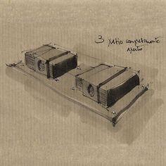 Sichilli Sketch  Sichilli è una casa da campo. Interamente in legno e acciaio, Sichilli si assembla facilmente in sole 24 ore. Sichilli si trasforma da due unità abitative indipendenti con un patio comune, a una sola unità abitativa, con la superficie triplicata. Ogni modulo è un quadrato di 8mt di lato, la superficie coperta complessiva è dunque di 192mq.