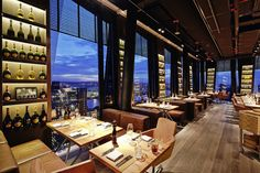 The panoramic view of clouds restaurant & bar reaches far over the Reeperbahn until the river Elbe and the harbour. Restaurant Bar, Restaurant Hamburg, Material Design, Restaurant Pictures, Hamburg Germany, Rooftop Bar, Interior Garden, Architecture, Cool Places To Visit