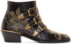 Chloé - Black Studded Suzanna Boots