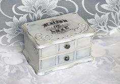 Vintage Style Shabby Chic Good Quality Solid Wood Jewelry Trinket Box Storage (7…