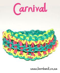 Carnival loom band bracelet tutorial - loomband