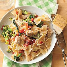 This Parmesan Chicken with Bow Ties recipe is a great go-to when you're short on time, but want to make your family a balanced meal. Pump up the nutritional value in this dish by swapping white bow tie pasta of any whole wheat version you like. Easy Chicken Dinner Recipes, Pasta Recipes, Cooking Recipes, Healthy Recipes, Cooking Pasta, Great Recipes, Favorite Recipes, C'est Bon, Quick Easy Meals
