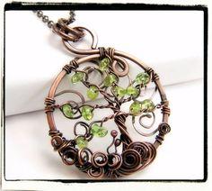 Antique Copper Green Peridot Gemstone Tree of Life Pendant