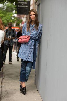 kimono-ing it. #CarolineBraschNielsen #offduty in NYC.