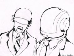 How to Draw Daft Punk Helmets, Step by Step, Music, Pop