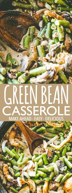 This easy green bean casserole recipe is the perfect Thanksgiving side dish! Creamy, flavorful and prepared with a rich mushroom gravy made from scratch. #greenbeans #greenbeancasserole #sidedish #thanksgivingsidedish #thanksgivingideas #thanksgivingrecipes #holidays #holidayrecipes #holidaybaking #mushrooms #greenbeancasserolerecipe