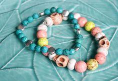 Turquoise  Peach Skull Beaded Bracelets / by Ohwowhandmadegifts, $15.00