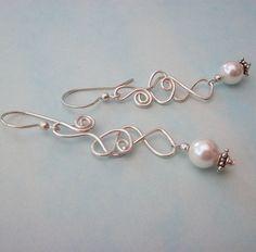 Silver Earrings Spiral Pearl Dangly Elegant Wedding