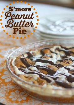 S'more Peanut Butter Pie ~ PB dough, chocolate chips, marshmallows, Reese's cups & served with a bit of hot fudge. Happiness in a pie plate!