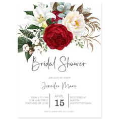 Red Florals Bridal Shower Invitation | Forever Your Prints