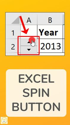 An Excel Spin Button is made up of an up arrow and a down arrow. Clicking each increases or decreases a value. See how to add a Spin Button to your spreadsheet. Excel Tips, Excel Hacks, Excel Budget, Computer Help, Computer Programming, Computer Tips, Computer Science, Excel Cheat Sheet, Vba Excel