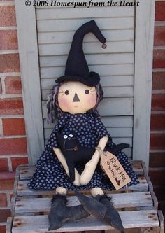 Primitive Halloween Witch doll pattern, Black Hat society, Raggedy witch with cat, Halloween decor, scarecrow doll Scarecrow Doll, Halloween Doll, Halloween Items, Halloween Crafts, Halloween Decorations, Witch Dolls, Halloween Witches, Halloween Goodies, Fall Sewing