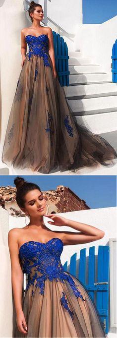 Modest Tulle Strapless A-line Long Prom Dresses With Lace Appliques OK916 #royalblue #tulle #brown #sweetheart #long #formal #prom #okdresses