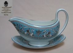 """Wedgwood Florentine Turquoise Gravy Boat w/Underplate. Boat: 8¼"""" x 5"""" tall. Plate: 7-3/4"""" x 5-3/4"""". $99.26 ea, 4 available at wessex-china (UK) on ebay, 4/21/16"""