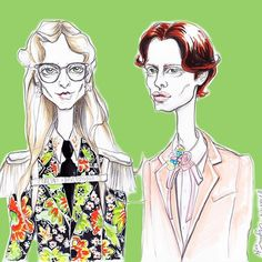 Another one of my gorge friend Alina for @gucci 💚 . . .  #Gucci #mfw #fashionillustation #fashion #illustration #illustrator #sketch #green #models #pencilsketch