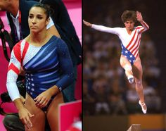 During the final day of gymnastics, Jordyn Wieber and Aly Raisman wore leotards that reminded viewers of another gymnastics legend. The leotard, which was also worn by trampolinist Savannah Vinsant, was an update of the famous flag look worn by Mary. Mary Lou Retton, Jordyn Wieber, Aly Raisman, Team Usa, Gymnastics Leotards, Olympics, Bring It On, Memories, Celebrities
