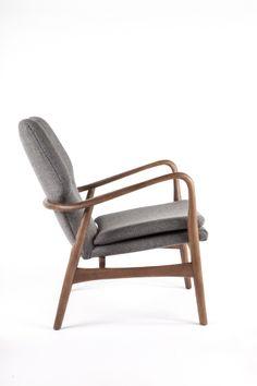 Gray Wool Elegant Arm Chair