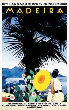 Madeira  Vintage Travel Poster - Het land van bloemen en zonnenschijn - Ludwig Hohlwein (ca. 1935), Portugal