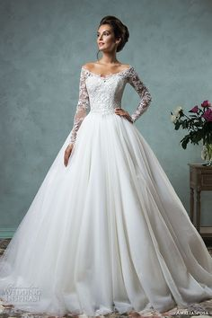 the shoulder lace long sleeves embroidered bodice gorgeous A-line ball gown wedding dress #weddingdresses