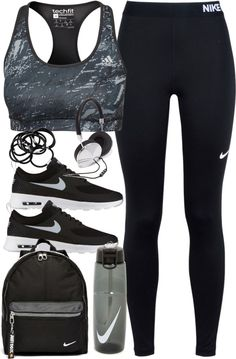 Outfit for the gym by ferned featuring drink bottles Nike jersey, 58 AUD / Adidas sports bra, 44 AUD / NIKE grey shoes, 150 AUD / Nike backpack, 26 AUD / Forever 21 metal headphone, 135 AUD / H M elastic headband, 2.94 AUD / NIKE drink bottle, 21 AUD