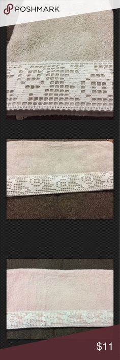 "Turkish  Lace Hand Towel 100%Cotton size 18X35"" Turkish Cotton Trim Hand Towel 18X35"" 100%Cotton made in Denizli, Turkey. Soft and absorbent. 18x35"" original price 15.00 now $11.00 Other"