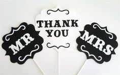 Photo Booth Props  - Thank You/Mr & Mrs Signs. $25.00, via Etsy.