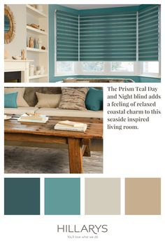 Breathe new life in to your living room with the Prism Teal blind. Day and Night blinds are a great way to maintain privacy and control light level. They can be operated with a standard pull-cord or chain, or via remote control with our clever motorisation. View our range of Day & Night Blinds. Teal Blinds, Blue And Cream Living Room, Day Night Blinds, Blue Interiors, House Entrance, Living Room Interior, Sheds, Teal Blue, Interior Inspiration