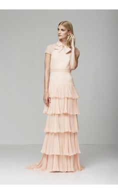 Shop peach ruffled Bernadette dress by YDE at MyBeautifulDressing.com
