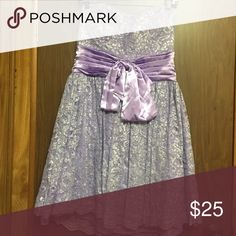 Light purple strapless dress Very cute  strapless lilac shimmering lace dress not in perfect condition should be used as a costume Deb Dresses Prom