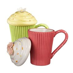Pink or Green Cupcake Cocoa Coffee Mugs with Lids 10 Oz Sculpted Novelty Ceramic #GrasslandsRoad
