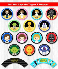Star Wars Cupcake Topper & Wrapper Digital File INSTANT DOWNLOAD    ----------------------- ★★ Package Included ★★-----------------------------------